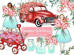 Autumn Clipart Fashion Flowers Planner Stickers Girl Flower Truck Wedding From BeatriceAvenue