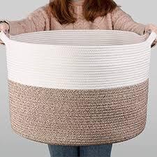 indressme groß wäschekorb aus baumwolll für decken im wohnzimmer korb zur aufbewahrung im kinderzimmer weiß und braun 55 x 35 cm d x h