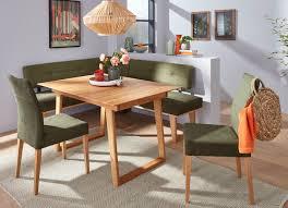 esszimmermöbel aus naturbelassenem massivem eichenholz eckbankgruppe 4 teilig maße 192x167 cm eiche grün