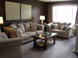 Fancy Brown Living Room Varying Shades Turquoise Deck Lamp Coffee Table Cream Sofa Painting Curtain Blue Pillow Couch