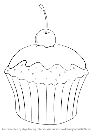 Learn How to Draw Cupcake with Cherry Cakes Step by Step Drawing Tutorials