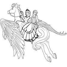 Unicorn Flying High Barbie Mariposa Coloring Pages