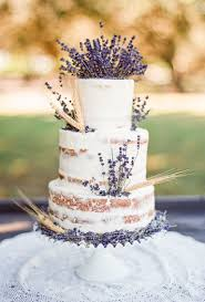 Rustic Naked Cake With Lavender Wheat