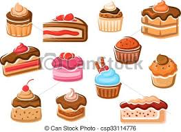 Cakes Cupcakes Pies Pudding And Desserts Vector