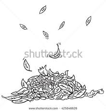 black and white pile of leaves cartoon illustration