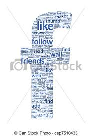 Social network words Illustration of the letter f which