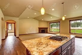 offene grundriss leere wohnzimmer mit kamin und teppichboden verbunden mit küchenbereich blick granit zähler nach oben insel northwest usa