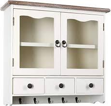 h4l wandregal hängeschrank weiß vintage style 55cm regal schrank holzregal wandschrank im shabby look küchenregal