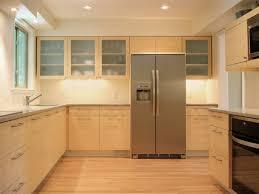 interior modern kitchen design with light brown l shaped kitchen