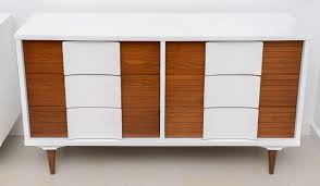 Johnson Carper White Dresser by Pair Of Mid Century Modern Two Tone Cabinets At 1stdibs
