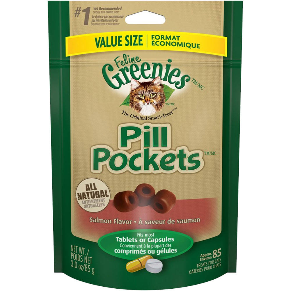Feline Greenies Pill Pockets Cat Treats - Salmon, 3oz