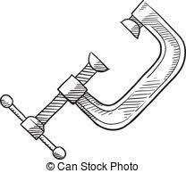 Carpenter Woodworking Tools Vectorby Leremy3 489 Carpenters C Clamp Sketch