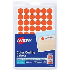 Avery 05051 Removable Self Adhesive Round Paper Color Coding Label Neon Red