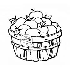 Apple Basket Fruit Coloring Page For Kids Fruits Pages Printables Free