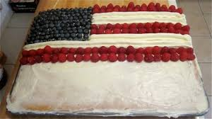Alternate rows of raspberries and icing until flag is plete you can already see the flag taking shape