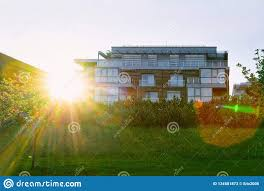 100 House And Home Pavillion Modern Apartment Building Real Estate Outdoor Sunset