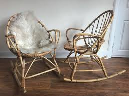 Vintage Pair Of 1960s Franco Albini Attributed Cane Bamboo Egg Rocking  Chairs