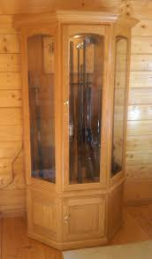 Wooden Gun Cabinet With Etched Glass by Wood Gun Cabinet With Deer Etched Glass Best Cabinet Decoration
