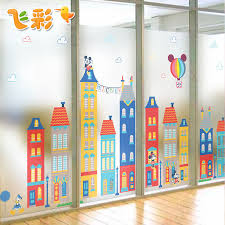Get Quotations Classroom Decoration Cartoon Scrubs Free Plastic Film To The Glass Paper Translucent Sliding Doors And