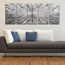 groß silber metall wand kunst skulptur wanddeko wandbild abstrakt multi panel jon allen metall silber 5 panel 64 x 24