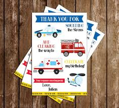 100 Fire Truck Birthday Party First Responder Police Ambulance Thank You Card
