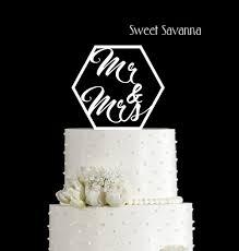 Hexagon Mr & Mrs Cake Topper N3 Wedding Cake Topper