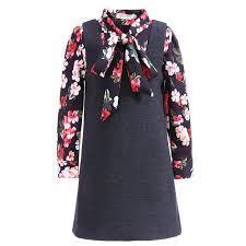 Pettigirl Girls Vintage Clothing Set Flower Long Sleeve Shirt Black Dress Children Autumn Wear G