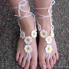 PATTERN Crochet Barefoot Sandals Nude Shoes Wedding Victorian Sexy Yoga Toe Thong Bottomless Beach Pool Gipsy Feet