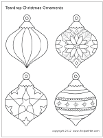 Teardrop Shaped Christmas Ornament Set 2