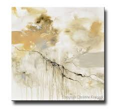 GICLEE PRINT Art White Grey Abstract Painting Modern Neutral Wall Contemporary By Christine
