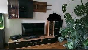 wohnwand schrankwand wohnzimmer nussbaum schwarz