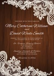 Rustic Wedding Invitation White Lace Trim Background