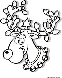Printable Christmas Reindeer In Lights Coloring Page