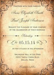 Rustic Vintage Wedding Invitation Wording Template