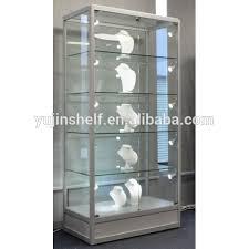 retail pentagon lighted wall souvenir corner glass display cabinet