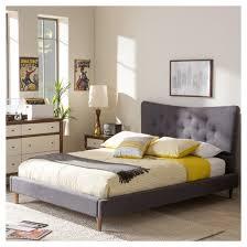 hannah mid century modern fabric platform bed queen baxton