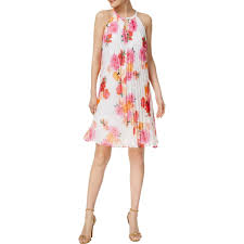 Shop Calvin Klein Womens Babydoll Dress Pleated Floral Free
