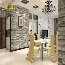 Chinese Style Dining Room Wallpaper Modern 3d Stone Brick Design