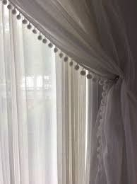 muslin curtain with pom pom edge www normandeauwc com szycie