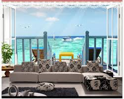 High Quality Custom 3d Wallpaper Murals Sea View 3 D Space Aesthetic Extension Gull The Sitting