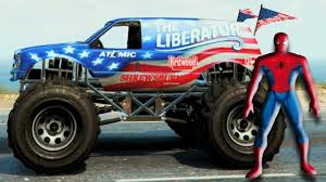 100 Spiderman Monster Truck Riding A USA Funny Wheels And Nursery