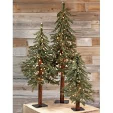 3 Piece Alpine Artificial Christmas Tree Set With Clear White Lights Of