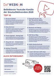beliebteste kanäle für deutschlehrende dafwebkon 2021