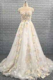 Colorful Beaded 3d Floral Illusion Neck Sleeveless A Line Wedding Dress