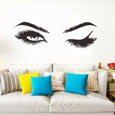100 Sexy Living Rooms Pretty Eyelashes Wall Sticker Living Room Decor Mural Art Decals Sticker_WK