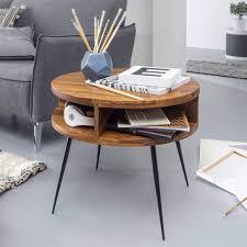 finebuy couchtisch sheesham massivholz metall 60x45x60 cm tisch wohnzimmer design beistelltisch mit ablage kleiner wohnzimmertisch rund braun