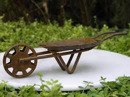 Fairy Garden Furniture Miniature Dollhouse Rusty Tin Wheelbarrow New