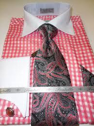 mens white u0026 bright salmon micro check pattern dress shirt with