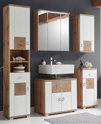 schickes bademöbel set in weiß eichefarben mit