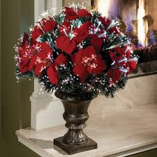 Fiber Optic Christmas Trees Canada by The 2 U0027 Fiber Optic Tabletop Poinsettia Bush Hammacher Schlemmer